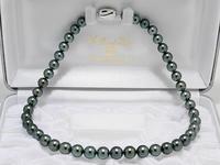 Потрясающий 9 10 ММ tahitian круглый черный зеленый жемчуг ожерелье 18 дюймов 925 s