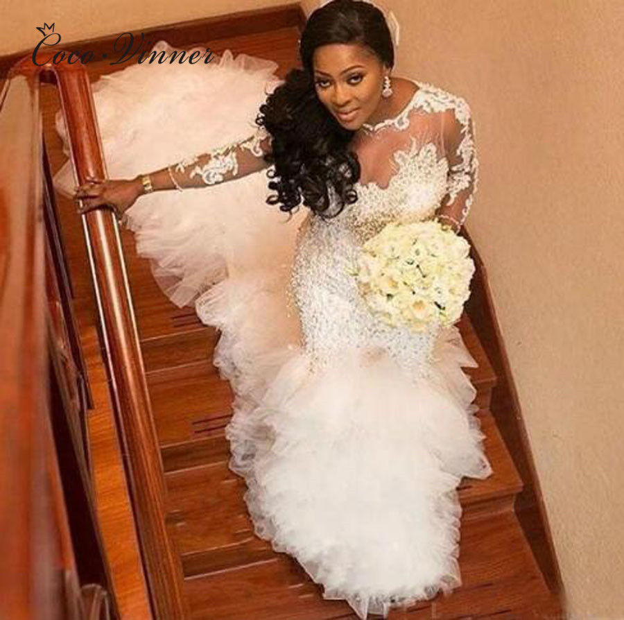 Heavy Pearls Crystal Beading Luxury Train African Mermard Wedding Dresses Long Sleeve Lace Appliques Lace Wedding Dress W0383