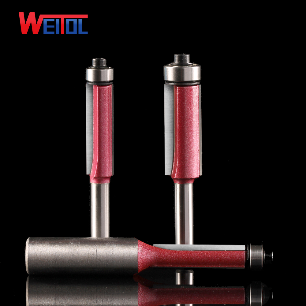 Weitol 1pcs 1/4 or 1/2 inch carbide two flutes flush trim router bit with bearing wood cutting tools CNC milling cutter weitol 5a series  6mm  two flutes