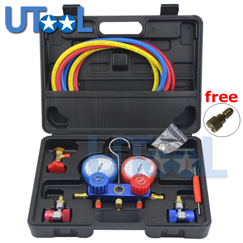Refrigeration Air Conditioning Manifold Gauge Maintenence Tools R134A Car Set With Carrying Case car air conditioning refrigeration pressure test gauge r134a at2217