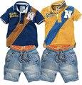 Новые приходят дети спорт устанавливает мальчик одежды (футболки + джинсы короткие) мода детская одежда ковбой костюм розничная YAZ024