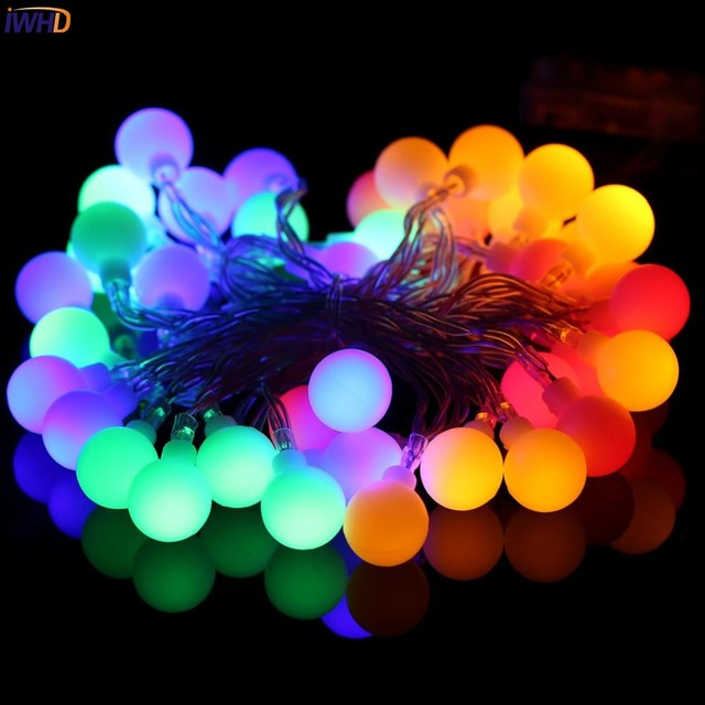 Led Christmas Decorations Indoor.Us 13 36 28 Off Iwhd 10m Cotton Ball Led Christmas Lights Outdoor Indoor New Year Christmas Decorations Led String Fairy Lights Navidad Natal In Led