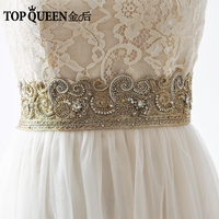 TOPQUEEN AS22 G Royal Medal Wedding Belts Sash Bride Evening Party Gown Dresses Accessories Belts Bridal 5cmWide Champagne Belts