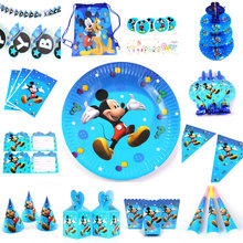 Mickey Mouse baby shower Kids Birthday Set Party Supplies Cake plate banner gift bag tablecover Micke Party Decoration(China)