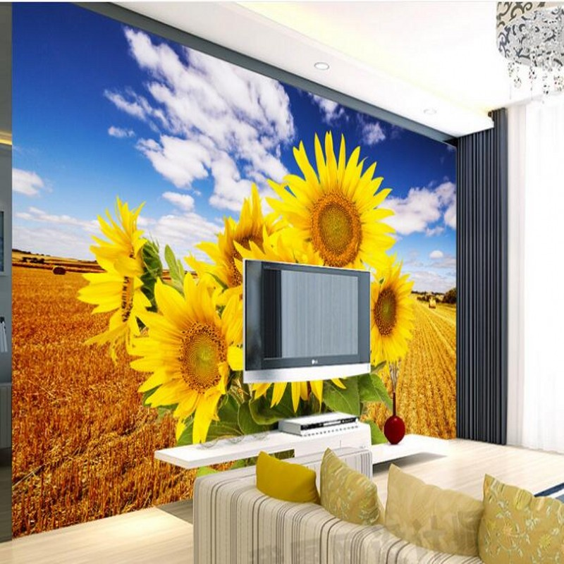 Beibehang Custom Large Mural Sunflower Gold Wheat Field Beautiful Scenery Home Improvement Bedroom TV Background Wall Wallpaper