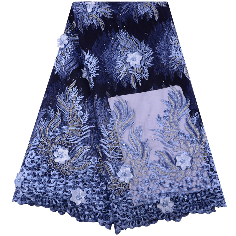 Latest 5 Yards African Tulle Mesh Net Lace Fabric with 3D Flowers Embroidery Nigeria French Lace