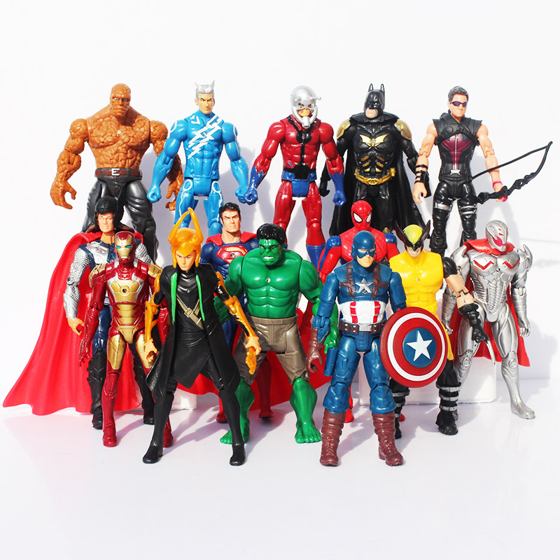 New 14pcs/set The Avengers <font><b>2</b></font> Age of Ultron Hulk Hawkeye Captain America Thor Batman <font><b>Spider</b></font> <font><b>man</b></font> Action Figure Toys Gifts For Boy