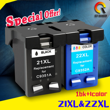 2 Pcs Para HP 21 22 cartucho de tinta (C9351A C9352A) 21XL 22XL para HP 3915 1530 1320 1455 F2100 F2180 Deskjet F4100 F4180 20 ML 15 ML