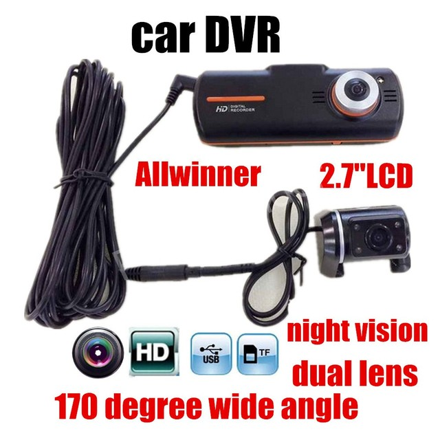 "factory price sale A1 Car Recorder Cam Video dual cameras Car Camera Dvr Full HD 2.7""LCD Night Vision G-sensor Dash Registrator"
