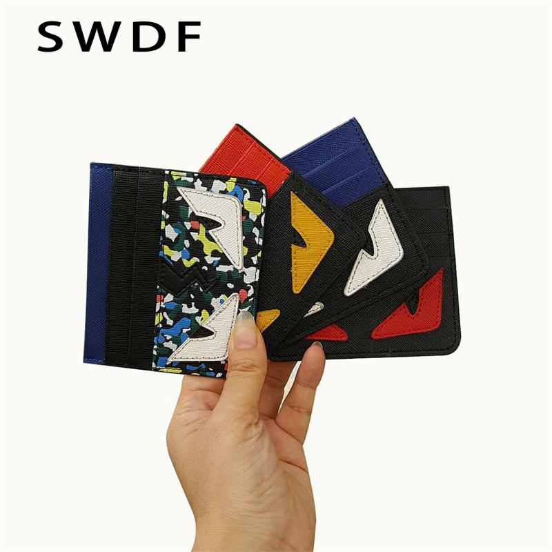 SWDF PU Leather Card Wallets Men Wallet Women Small Credit Card Wallet Mini Little Monster Ultral Thin Money Bag ID Case Purse цена
