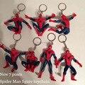 Nueva buena pvc fashion classic anime hero spider man spiderman figura de acción de juguete de los hombres llavero llavero colgante de regalo 7 plantea