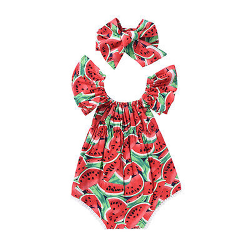 Newborn Baby Girls   Romper   Red Watermelon Clothes Round Neck Flare Short Sleeve   Romper   +Headband Jumpsuit Outfits Playsuit Baby