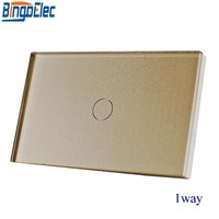 Bingoelec US AU Standard Gold Glass Panel Touch Light Switch Wall Electrical Switch 1gang 1way Touch