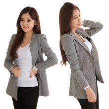 *2019 Women Plaid Blazers and Jackets Suit Ladies Long Sleeve Work Wear Blazer Plus Size Casual Female Outerwear Wear Work Coat* cheap Bobora REGULAR Formal Pockets Single Breasted Striped Full COTTON Notched