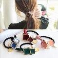 2015 nueva venta caliente de moda Square perlas de cuerda de pelo accesorios Bowknot venda elástico del pelo