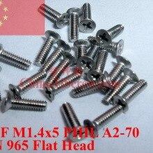 Винты из нержавеющей стали M1.4X5 Фил DIN 965 с плоской головкой A2-70 100 шт ROHS