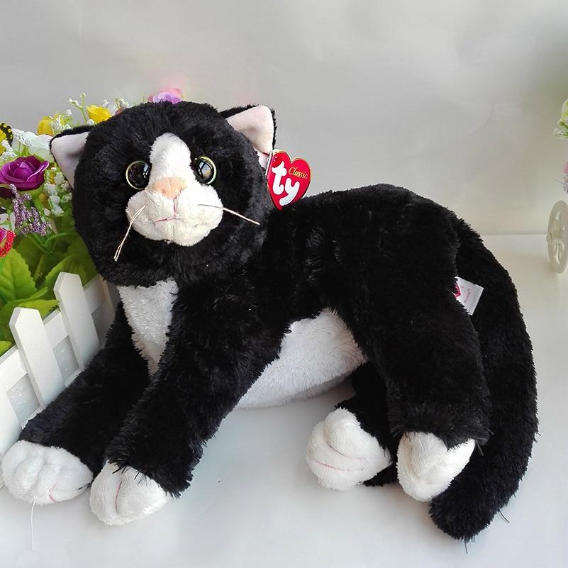 40cm original ty classic cat plush toy stuffed animal doll shadow the black cat kids toy. Black Bedroom Furniture Sets. Home Design Ideas