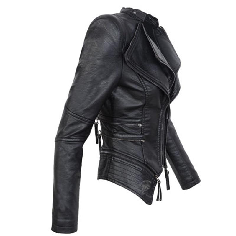Jacket Black Size Motorcycle 2018 Zipper Plus Women Kinikiss Faux Female Coat Winter Pu Gothic Autumn Fashion 3xl Leather XgEnz