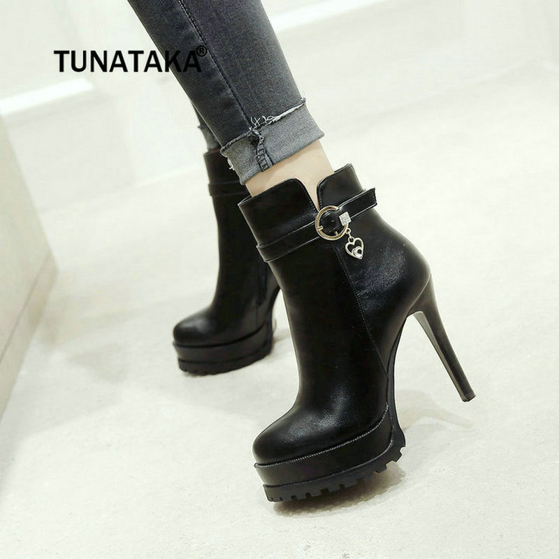 Women Sexy Thin High Heel Ankle Boots Platform Side Zipper Crystal Fashion Ladies Shoes Red Black american ultra high heel fashion nightclubs sexy thin with thin shoes crossed with water platform fish mouth women s shoes