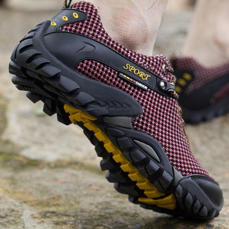 Été en plein air de randonnée chaussures hommes respirant maille camping escalade trekking chaussures hommes tactique randonnée chaussures hommes randonnée sneakers