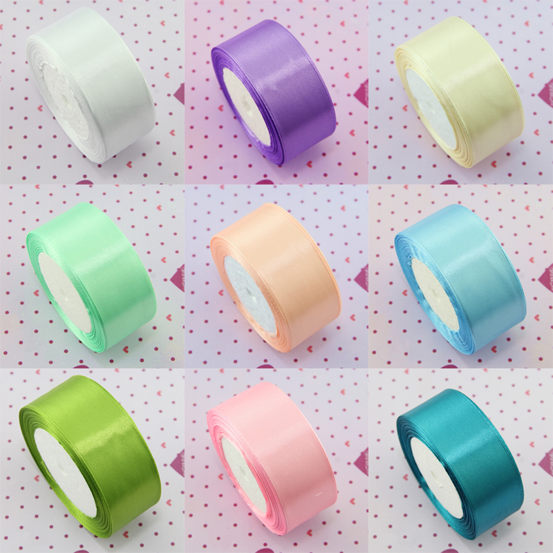 1 Roll /25 yards Multicolor Silk Satin Ribbon Wedding DIY Christmas Festival Decor Supplies Accessories Gift Packing Belt