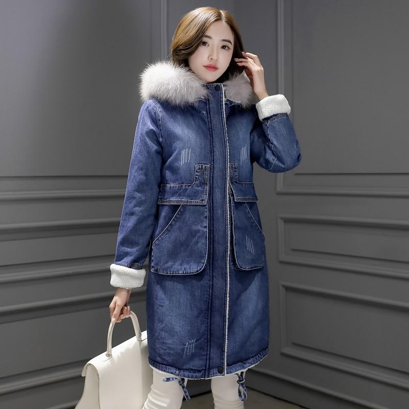 2017 Warm Winter Long Bomber Women Spring Autumn Hooded Coat <font><b>Jeans</b></font> Denim Jackets Basic Ladies Windbreaker Female Large Plus Size