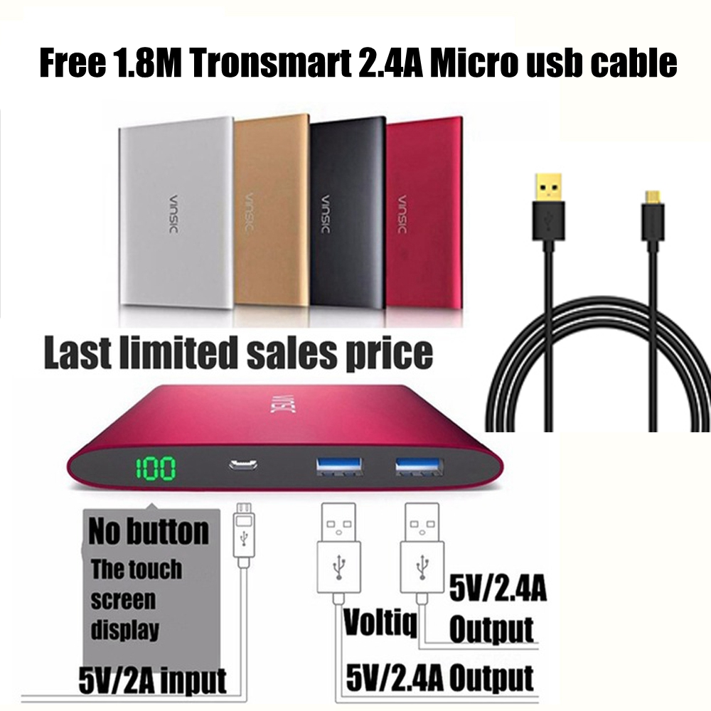 Vinsic 15000mah Power Bank 15000 mah 2.4A Fast Charge 2 Ports 4A for Xiaomi Huawei Samsung iPhone iPad 18Months Warranty Silver