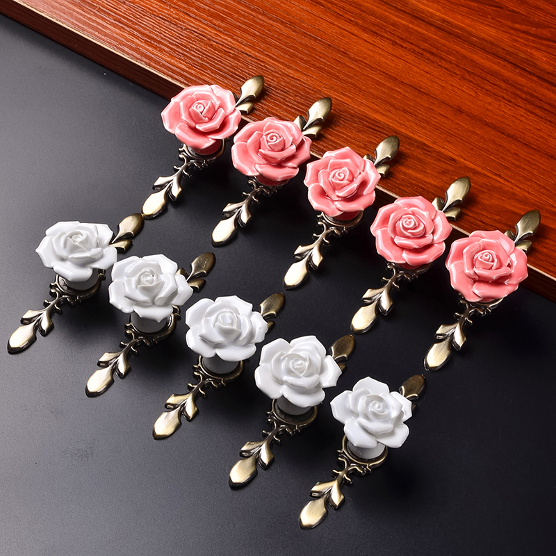 10pcs Larger / Small Rose Flower Pink/White Ceramic Alloy Base Door Handles Kitchen Cupboard Closet Drawer Furniture Pull Knobs