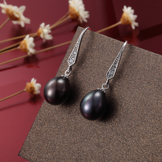 FEIGE Vintage Natural Pearl Earrings for Women 8-9MM Black Freshwater Pearl Dangle Earring Party Gifts Fine Jewelry Dropshipping