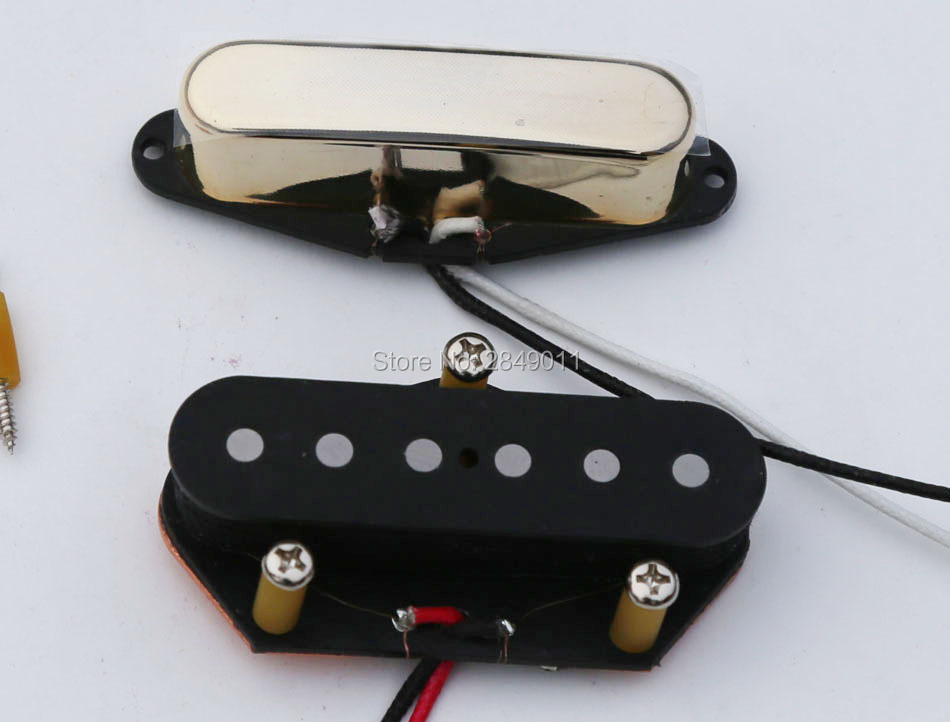 Vintage Pickups for Tele Style Guitars Braided Wire Alnico 5 Magnets GD BK