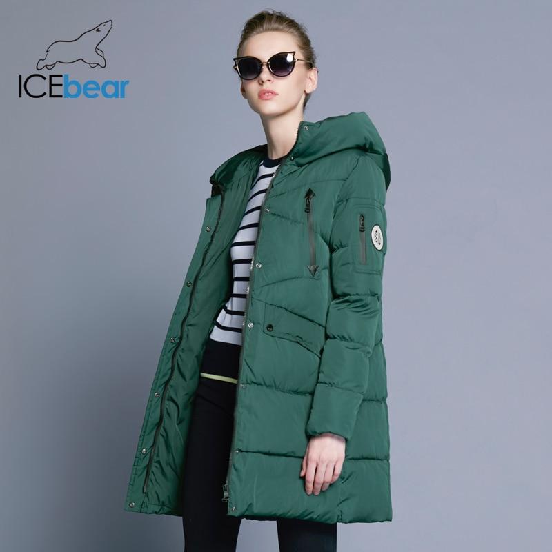 ICEbear 2018 100% Poliestere Morbido Tessuto Bio Imbottiture Cinque Colori Con Cappuccio Cappotto Donna Vestiti di Inverno Giacca Con Tasche 16G6155D