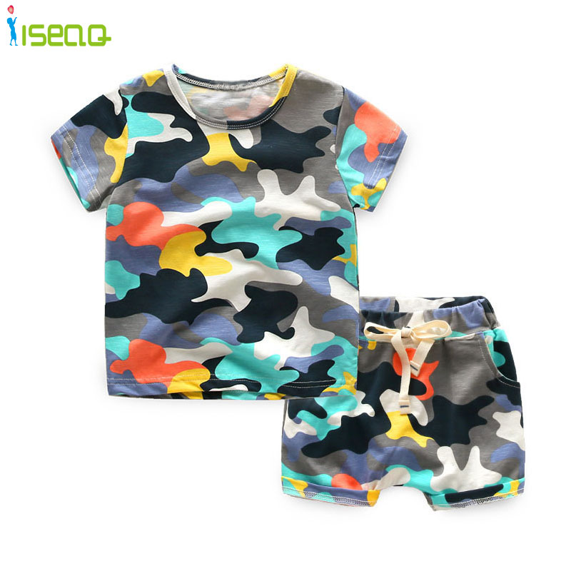 2017 New Camouflage Kids Clothing Set for Boys&Girls summer Cotton Camo Boys Sports Set Active Girls Clothing t-shirt+shorts