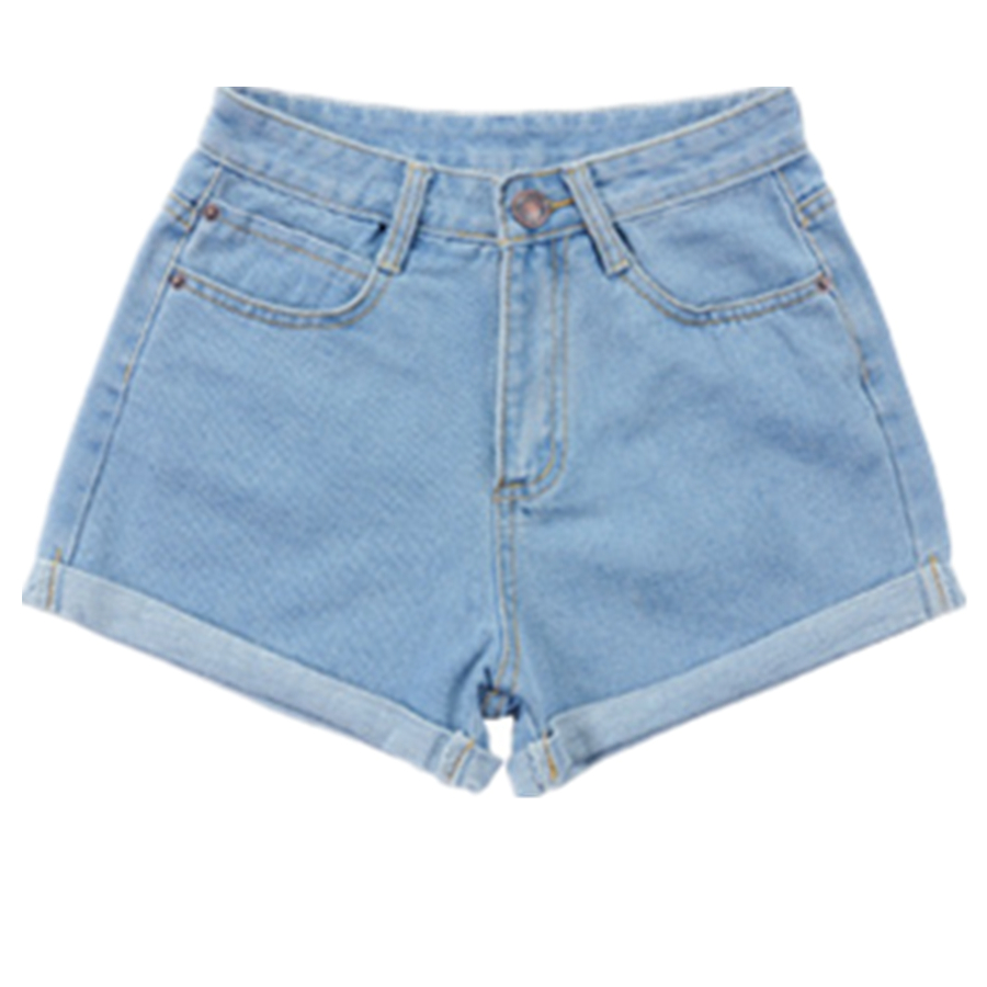 2016 new women high waist denim shorts female summer fashion loose large size curling thin Blue summer Women jeans Shorts Z2175