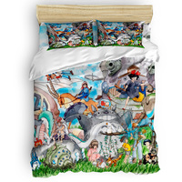 Studio Ghibli Duvet Cover 3D Cotton Duvet Cover King Size Queen Size Quilt Cover Set Bedclothes Comforter Single Bedding Sets
