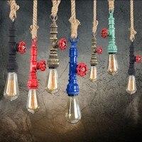 Vintage Loft dây Mặt dây đèn chùm Art Deco Water đèn ống E27 Bulb Lịch thi đấu Đối Coffee Bar chiếu sáng nhà hàng