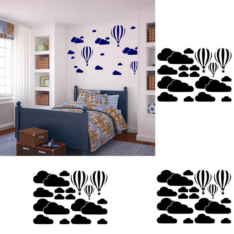 The new hot air balloon white clouds living room bedroom carved wall stickers creative paper - Home Decoration Art  Wall Sticker