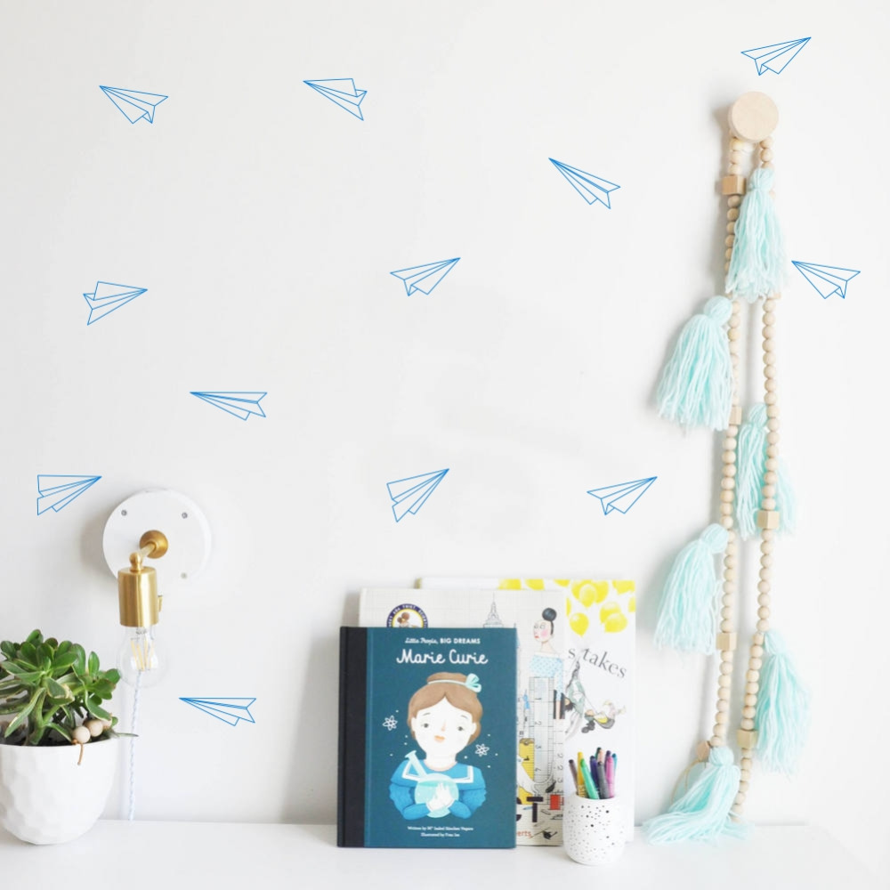 Flying Paper Airplanes Wall Stickers Art Mural for Kids Room Decorations Set of 16 Airplane Decals image