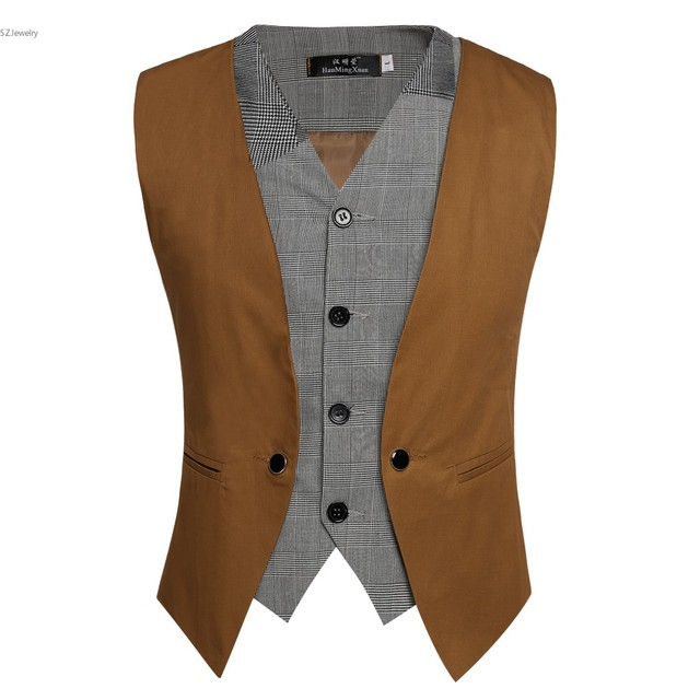 Faux 2-Piece Vest Men's Business Casual Suit Vest Men Slim Vests Male Single Breasted Sleeveless Waistcoat Jacket