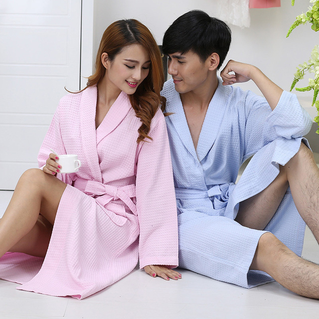 Hilift 100% cotton bathrobes thin summer 100% cotton bathrobe lovers robe medium-long plus size