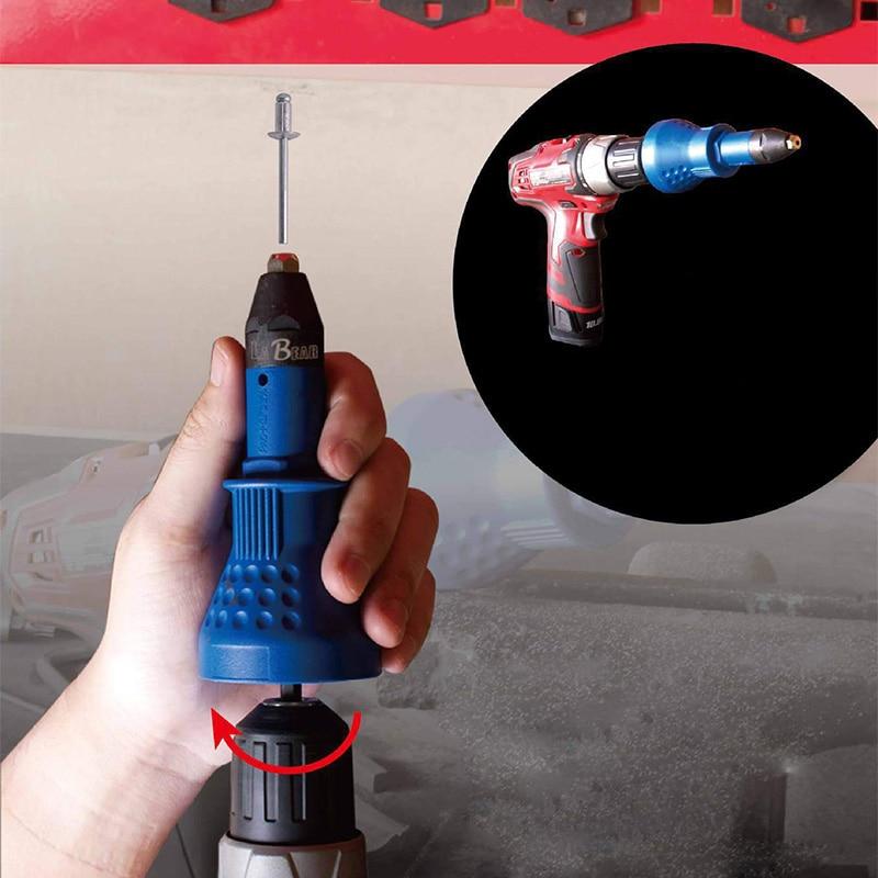 Electric Pull Rivet Conversion Adapter Electric Rivet Nut Guns Riveting Drill Adaptor Nut Tool Multifunction Nail Gun Rivets Set
