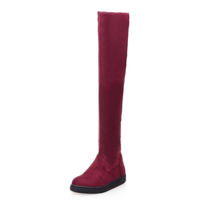 ФОТО AirfourOver the Knee Boots  black red  Women Flock Long Boots flats shoes  Autumn Winter Fashion Boots Top Quality women boots