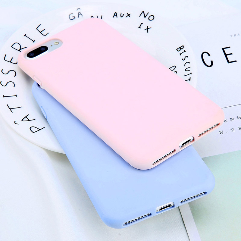 Soft TPU Iphone 5 5S SE 6 6S 7 8 Plus X XR XS Max Case Ultra Thin Candy Color 360 Full Silicone Phone Back Cover