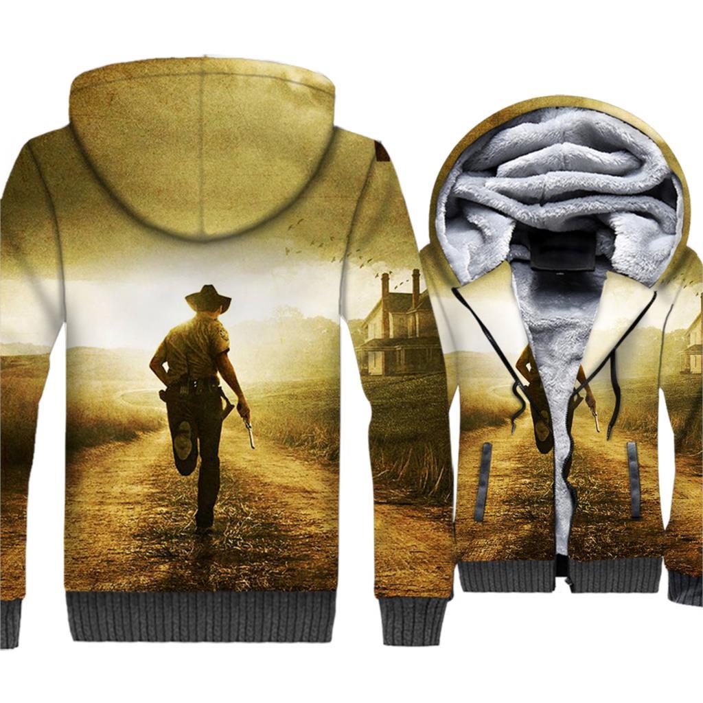 THE WALKIN DEAD Sweatshirts For Men 2018 Autumn Winter Thick Hoodies Autumn Winter Zipper Jackets Male Streetwear Men's Hoddies