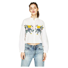 hot sale-Women's Fashion Flower Embroidery Stand Collar Shirts Casual Long sleeve Blouses Ladies Loose White Tops Blouse(White
