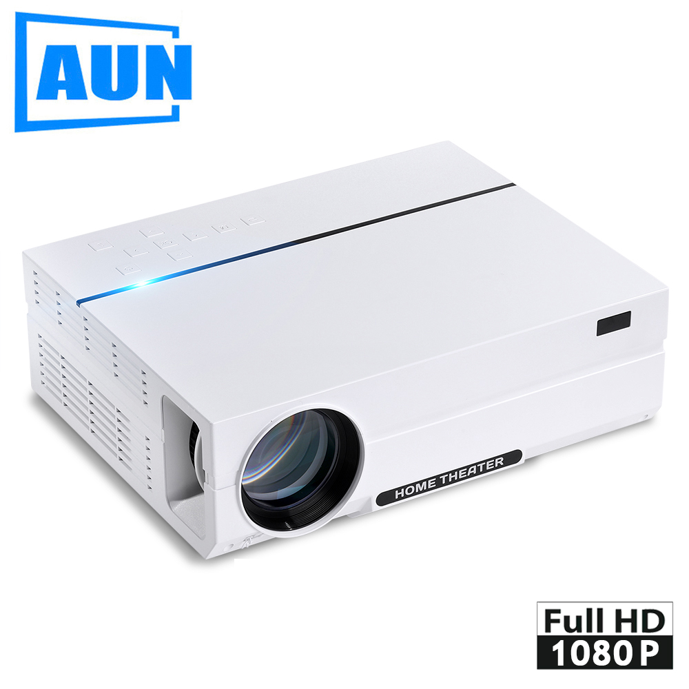 AUN Full HD Projector AKEY4. 1920*1080, 3,600 Lumens LED Projector with HDMI, USB, VGA, ATV Port, Speaker. Ultra-Quiet LED TV aun projector e07 for home theatre education of children 640 480 pixels led projector set in hdmi vga usd prot 1080p led tv