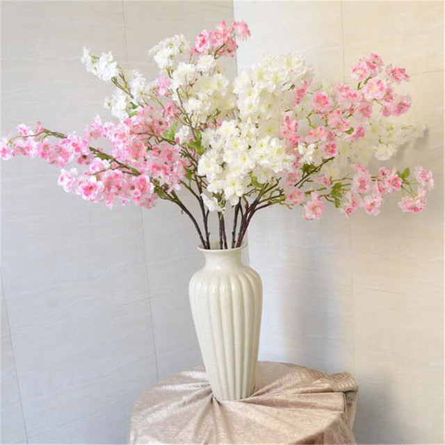 1pc Lot Artificial Sakura Cherry Blossom Flower Househodl Decoration Fake Flowers Wedding Hotel Living Room