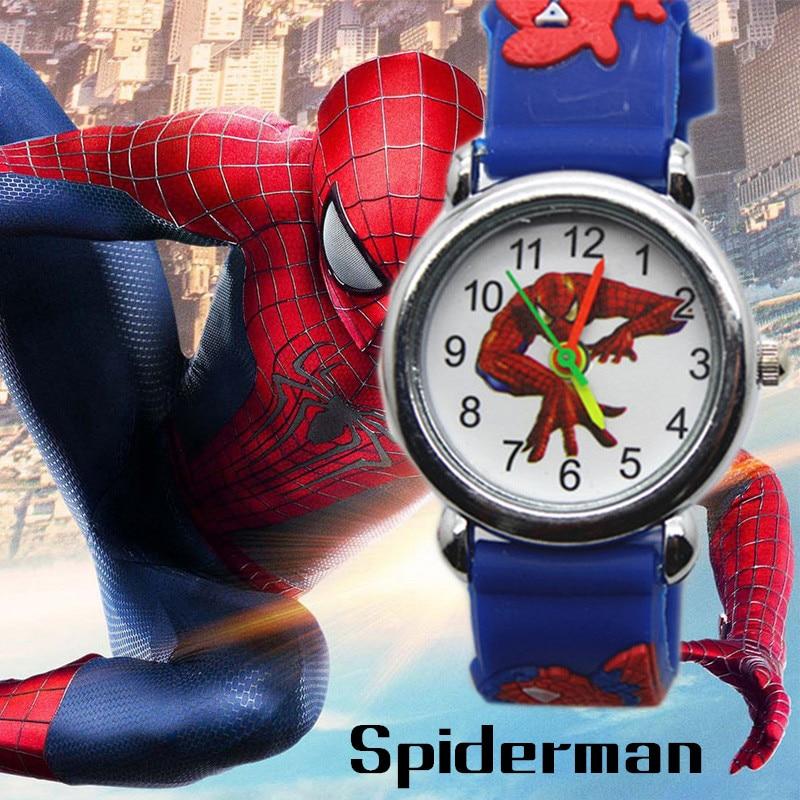 3D Spiderman Children's Watches For Boys Girls Clock Kids Watch Superhero Spider Man Silicone Children Watch Baby Birthday Gift