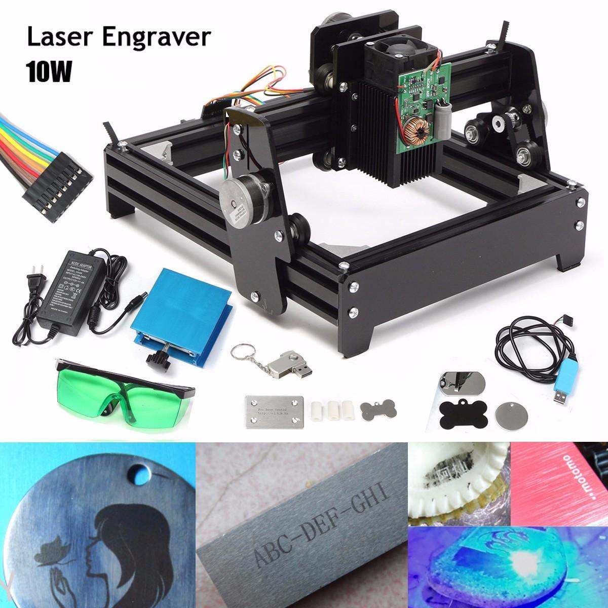 10W Laser Power 10000MW Laser Metal Engraving Machine 14 x 20cm Metal Marking Machine DIY CNC Router DC 12V 4A ipg 1 mj ylp series high average power fiber laser of laser marking machine