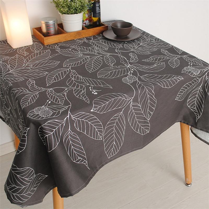 Купить с кэшбэком New Arrival Fashion Tablecloth Coffee Leave Print Gray table cloth Cover Towel Cotton Accept Customized  140*180cm