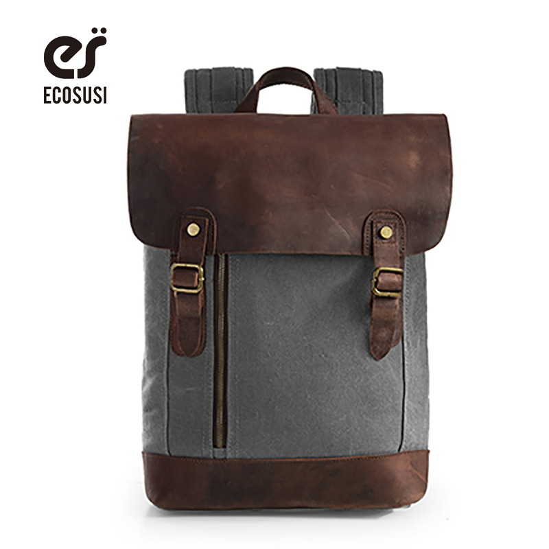 ecosusi Brand Fashion Laptop Backpack Solid Casual Bag Male Travel Backpack School Bag Canvas Bag Men Computer Backpacks For Men